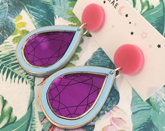 You are a Gem Dangle Earrings - Pear Purple/Blue/Pink