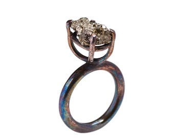 Handcrafted oxidized sterling silver 925 ring with Pyrite Quartz