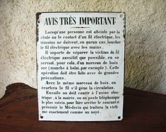 Antique French Enamel Sign.  Avis tres important! 1910s