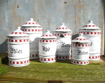Complete Set of 6 Antique French Enamel Canisters