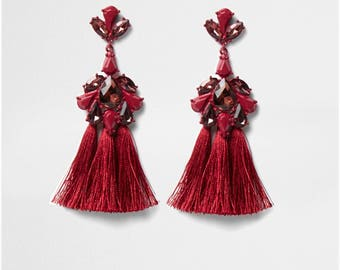 Diamante tassel drop earrings