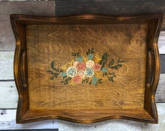 Vintage hand painted wooden tray // Hanging decorative tray // Flower painted tray