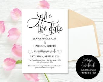 Wedding Save the Date, Save the Date, Wedding Save the Date Template, Save the Date Cards, Save the Date Printable, Wedding Date Print Card