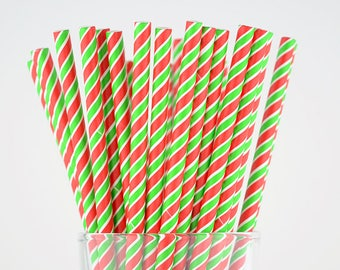 Red/Green Striped Paper Straws - Party Decor Supply - Cake Pop Sticks - Party Favor