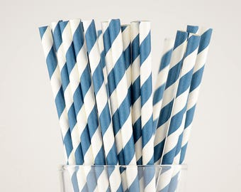 Navy Blue Striped Paper Straws - Mason Jar Straws - Party Decor Supply - Cake Pop Sticks - Party Favor