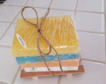 Assorted Soaps (4 bars) with rack