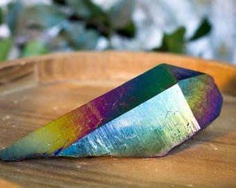 Large Rainbow Aura Quartz Point, Titanium Crystal