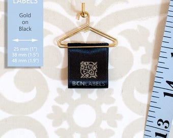 GOLD ON BLACK 50 pcs Custom Printed Soft Satin Clothing Labels 25 mm / Care Labels / Sew in Fabric Labels