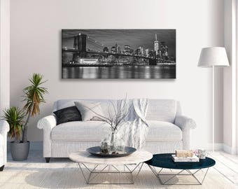 Brooklyn Bridge New York Skyline Landmark Black And White Panoramic Canvas Wall Art Print