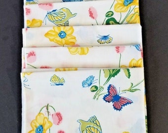 Vintage Table Napkins Linens Set of 7 Butterflies Floral Vibrant