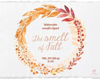 Watercolor Fall Wreath, Autumn Leaves Clipart, Fall PNG & JPEG, Leaves Wreath, Harvest Clipart, Wedding graphics, Digital Clip Art
