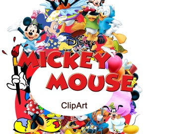 100 Mickey Mouse ClipArt - Digital , PNG, image, picture,  oil painting, drawing,llustration, art , birthday,handicraft 300 DPI, 300 PPI