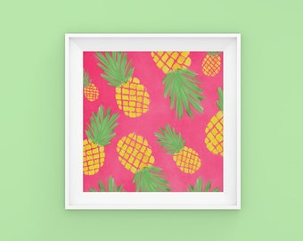 Pineapples | Home Decor | Apartment Decor | Fruit  | Tropical | Poster