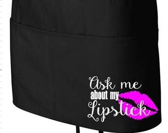 LipSense Apron. SeneGence Apron. LipSense. SeneGence. Ask Me about Lipstick. LipSense Advertising. LipSense Marketing. LipSense Accessories.