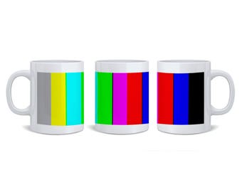 Colour Bars Ceramic Coffee Mug | Mugs For Media Television TV Creative Graphic Designer | Colour Television | TV | Pantone | Media Gifts