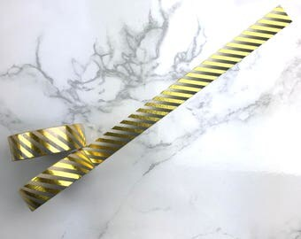 Black Gradient Gold Foil Stripes Washi Tape