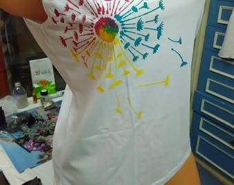 Hand painted T-shirt, Painted Singlet, Painted Vest, Painting T-shirt, Funny T-shirt, Multicolor paint , White T-shirt, Funny dandelion