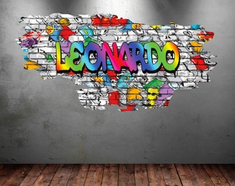 Beau Personalized Name Full Color Graffiti Wall Decals Cracked 3d Wall Sticker  Mural Decal Graphic Wall Art