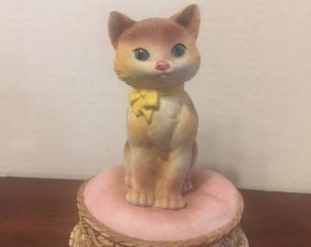 Vintage  Porcelain Musical Cat