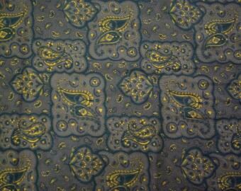 Brown/black paisley cotton fabric
