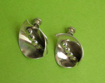 Vintage Sterling Silver Calla Lilly Earrings - Screw Back