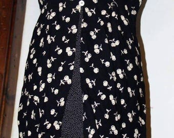 1980's black flowered dress