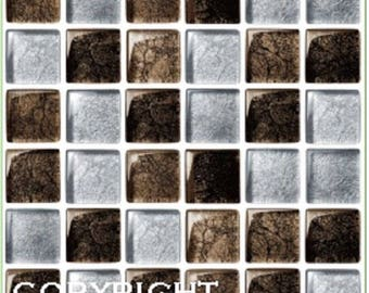 Pack of 10 Brown and silver mosaic tile stickers transfers, with added gloss affect, just peel and stick, bathroom kitchen