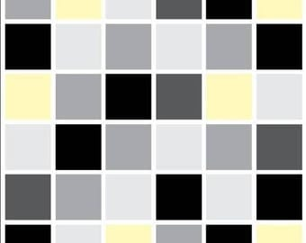 Pack of 10 black and yellow mosaic tile stickers transfers, with added gloss affect, just peel and stick, bathroom kitchen