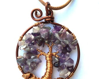 Tree of life pendant made of copper and Amethyst chips
