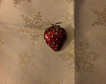 Nice Red Lacquer Strawberry Brooch
