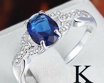 Women Fashion Blue Sapphire & White Topaz Gemstone 925 Sterling Silver
