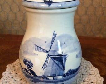 Delft Blue Style Handpainted Jar