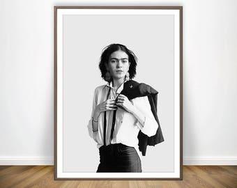 Frida Print * Frida Kakho Print Black And White Photography Frida Kahlo Poster Frida Poster Celebrity Art Woman Art Frida Kahlo Wall Art