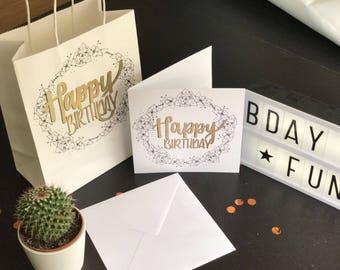 Birthday Gift Bag and Card Set, Gift bag, Birthday card, Birthday bag, Happy birthday bag, Happy birthday card, Birthday Card and bag