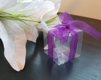 Wedding Bomboniere- Clear Box - with Purple Ribbon