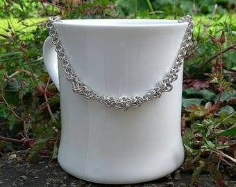 Sterling Silver Chain Maille Necklace with Front Knot detail