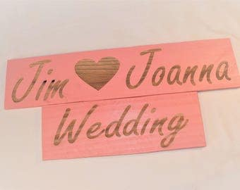 "Engraved ""Custom Name <3 Wedding or Nuptials"" Sign 