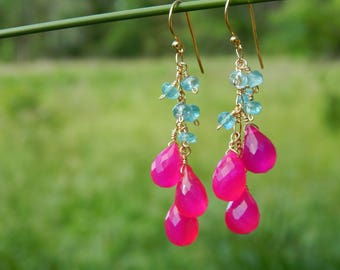 Hot pink chalcedony and apatite gemstone cluster earrings in gold