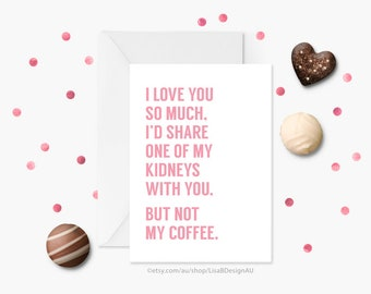 Anniversary Card, Valentines Card, Card for Girlfriend, Card for Boyfriend, Coffee Card, I Love You Card, Funny Greeting Card | GCLACA6012