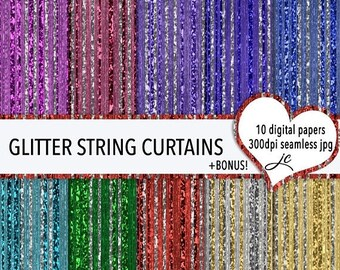 SALE Glitter String Curtains Digital Papers + BONUS Pattern Files, Seamless, Textures, Backgrounds, Clipart, Personal & Commercial Use
