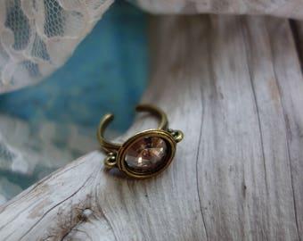Vintage Rose Swarovski Crystal Ring