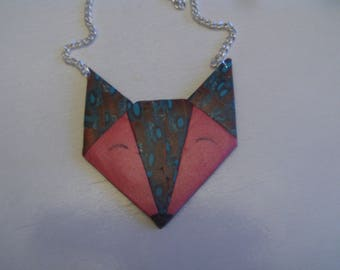 Necklace long Fimo Fox head