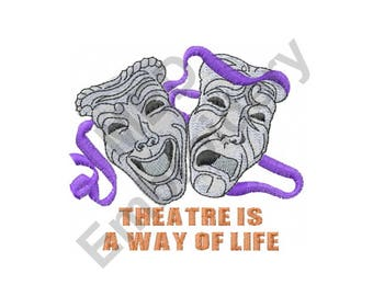 Masks - Machine Embroidery Design, Theater, Comedy and Tragedy, Drama