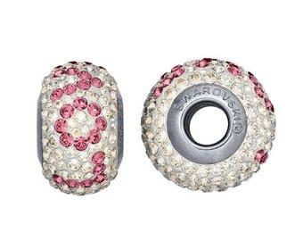 "Swarovski® Crystals Stainless Steel 14.4mm Pink ""Love"" Roundel Bead"