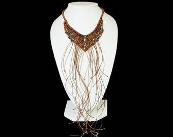 Leather Necklace. Gsrgantilla leather Necklace. Macrame fabric. Handmade. Bohemian Chic ethnicity. Fringe Necklace and stones. Bib Necklace