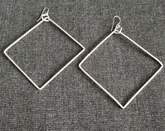 Extra-Large Square Hoop Style Earrings in Sterling Silver