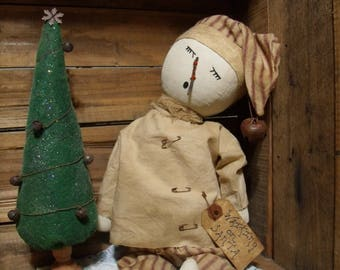 Primitive snowman/Primitive Christmas Doll/Christmas tree/handmade primitive doll/waiting on santa/snowman doll/sleeping snowman