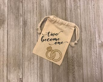 Two Become One-Wedding-Big Day-Ring-Engagement-Bride-Love-Muslin Bag-Favors-Thank You Gifts