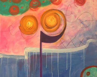 Colorful Abstract Painting on Canvas: Mesmerized by NYC Artist, Maggie Hernandez