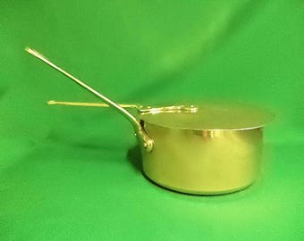 French vintage copper saucepan pan pot  with lid, makers stamp and refurbished with new tin lining 20cm 1.7kg (ref 327E)